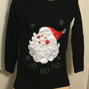Ugly Christmas Sweater Santa Face Pullover Small